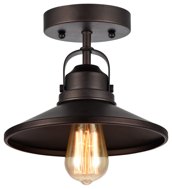 1Light SemiFlush Ceiling Fixture Rubbed Bronze Industrial