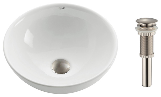 Round Ceramic Bathroom Sink With Pop-Up Drain, White, Satin Nickel, 15.8.