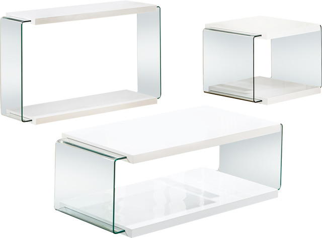 Modern White Glass 3-Piece Coffee, End And Console Table Set.