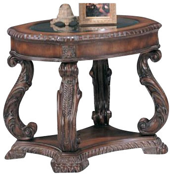 Coaster End Table, Antique Brown.