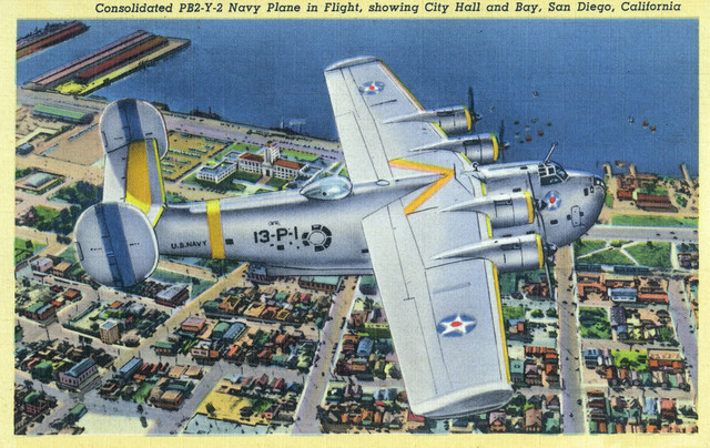 Quot San Diego California Pb2 Y 2 Navy Plane Over The City