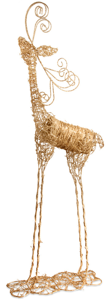 National Tree Company 51 H Rattan Deer With Champagne Gold Glittter Contemporary Holiday Accents And Figurines By National Tree Company