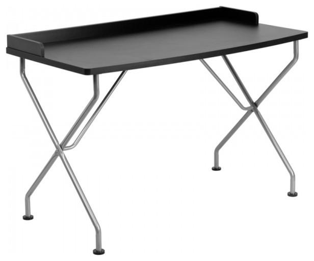 Flash Furniture Black Computer Desk With Silver Frame