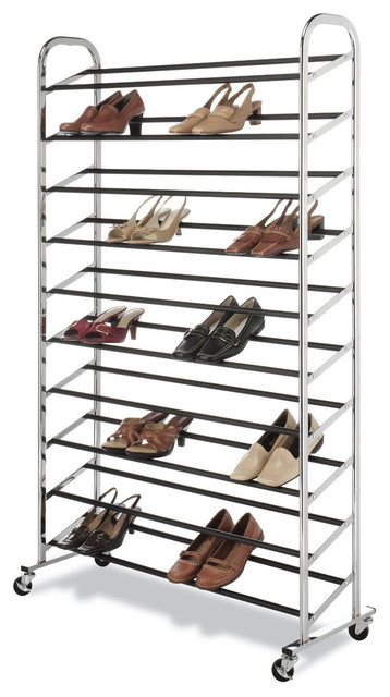 Captivating 50 Pair Shoe Rack Tower, Chrome Wheels Included Contemporary Shoe Storage