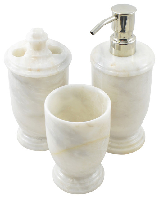 White Z Marble 3 Piece Bathroom Accessories Set Of Atlantic