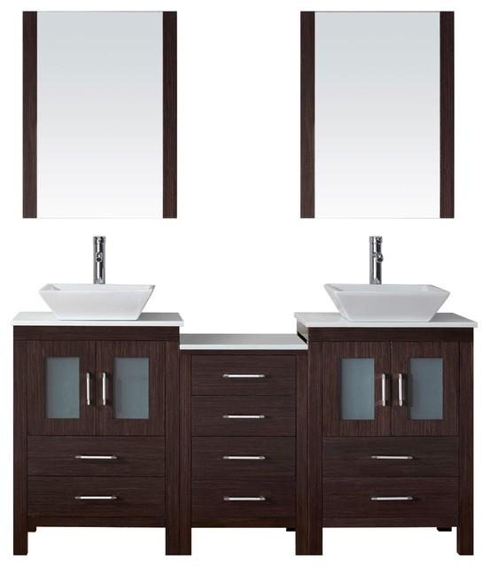 Virtu Usa Inc Dior 66 Double Bathroom Vanity Set Espresso Bathroom
