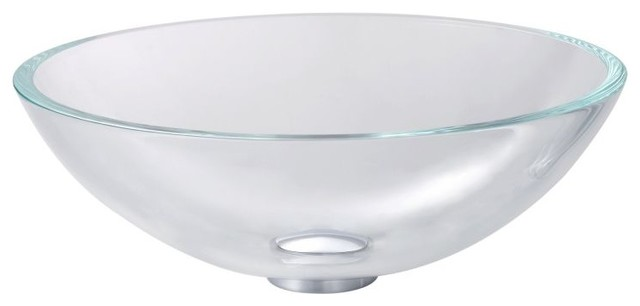 Kraus Glass Vessel Sink, Crystal Clear.