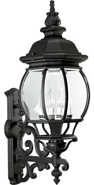 Onion Lantern 4-Light Outdoor Wall Lights, Textured Black