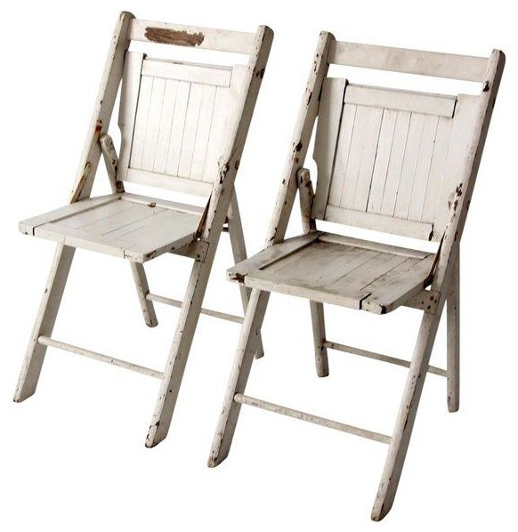 Consigned Vintage Wood Folding Chairs Set Of 2