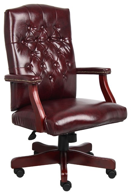 Boss Classic Executive Oxblood Vinyl Chair With Mahogany Finish.