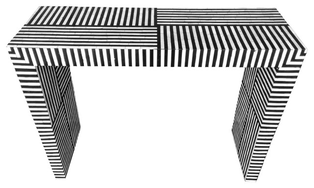Bone Inlay Striped Pattern Console Table Scandinavian