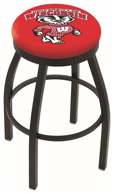 25 Quot Black Wrinkle Wisconsin Quot Badger Quot Swivel Bar Stool With