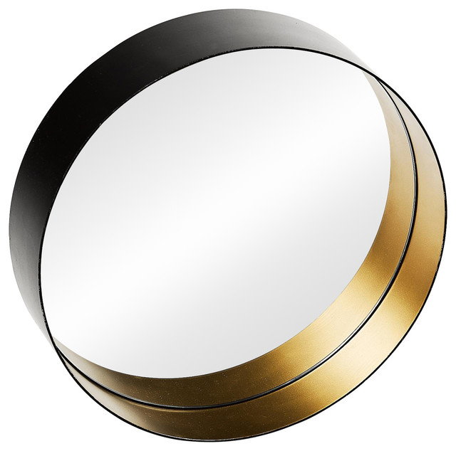 Round Brass Wall Mirror, Black and Gold, 50 cm