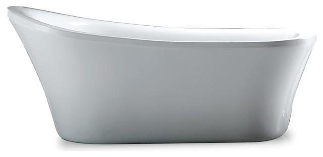 "Miami Freestanding Acrylic Bathtub, Glossy White, 65""."