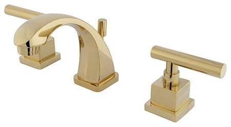 Brooklyn 2-Handle Widespread Faucet With Pop-Up, Polished Brass.