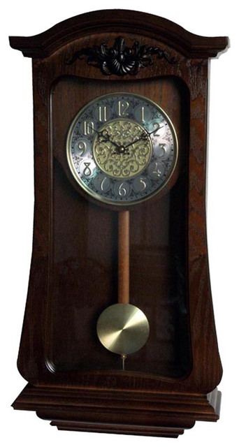 LNC Pendulum Clock Hourly Westminster Chime Wood Wall Clock Japan