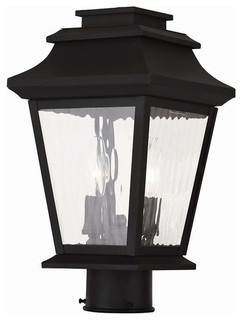 Black Livex Lighting 2603-04 Outdoor Post with Clear Water Glass Shades