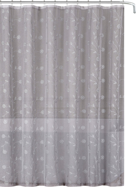 Superieur Sheer Shower Curtain, Embroidered Flowers, Metallic   Traditional   Shower  Curtains   By Curtain Call