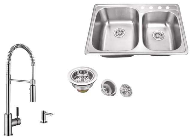 Double Bowl Drop-In Kitchen Sink, Pull Out Kitchen Faucet, Soap Dispenser.