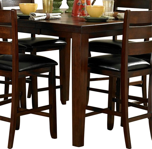 Homelegance Ameillia Extension Square Counter Height Table In Dark Oak.