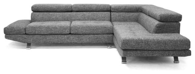 Baxton Studio Adelaide Gray Twill Fabric Modern Sectional Sofa