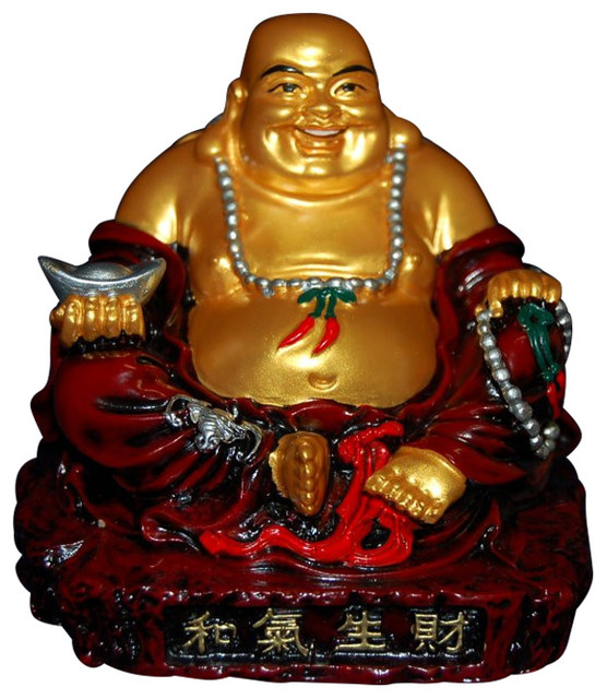 Red Stone Gold Sitting Buddha Asian Decorative Objects
