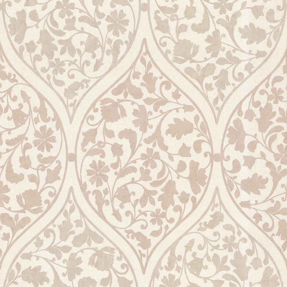 Adelaide Taupe Ogee Floral Wallpaper Contemporary Wallpaper