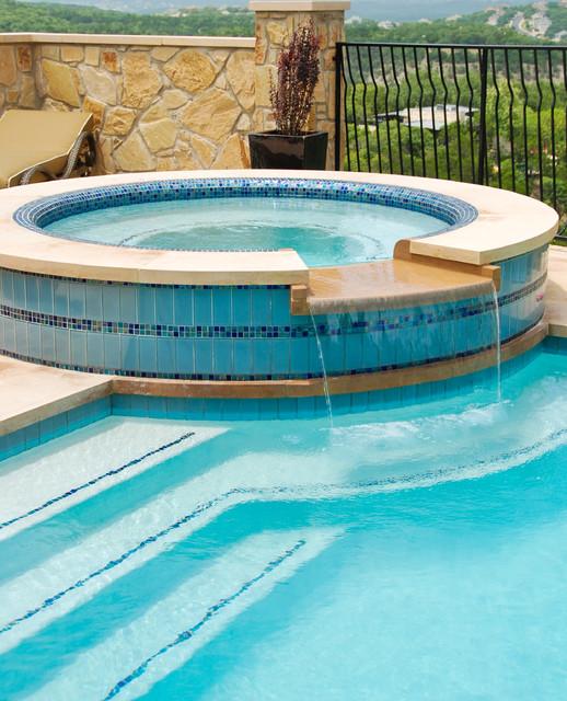 Tile veneered spa eclectic pool austin by austin for Pool design austin