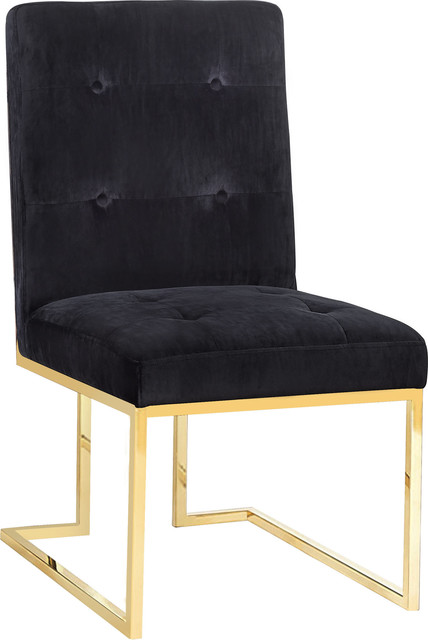 Akiko Velvet Chair - Black, Gold.