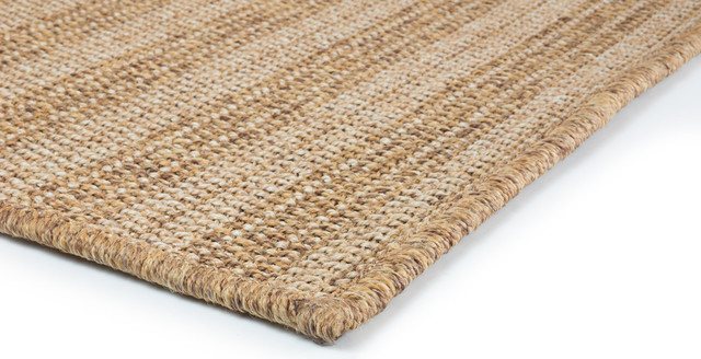 Key West Indoor And Outdoor Striped Tan And Light Tan Rug, 2&x27;3x7&x27;6.