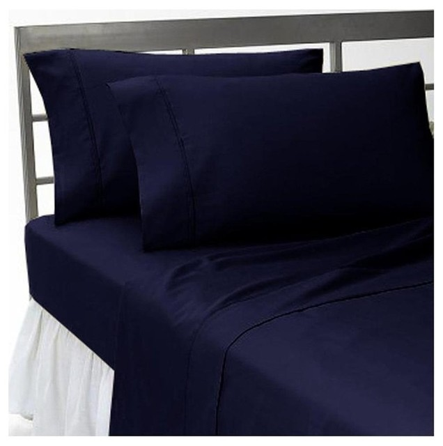 Thread Count Solid Sheet Set Navy King Contemporary - Blue solid color king size comforter