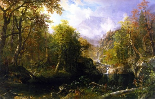 """The Emerald Pool"" By Albert Bierstadt Fine Art Print, 24""x15"""