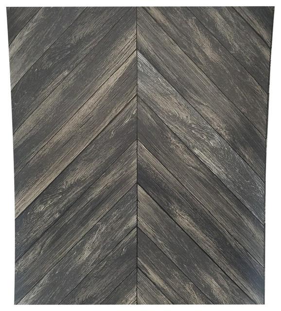 Chevron Wood Plank Parisian Espresso Parquet Wallpaper, Yard. -1