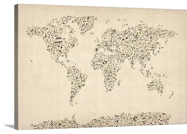 World Map Made Up Of Musical Notes Wrapped Canvas Art Print Contemporary Prints And Posters By Great Big Canvas Houzz