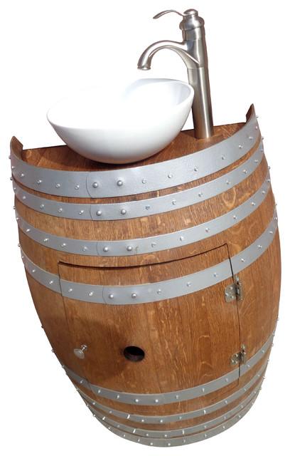 """Humboldt Wine Barrel Vanity With Vessel Sink, 28""""."""