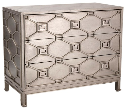 Elegant Diamond Lattice Silver Accent Chest, Antique Style Wood Metal 3 Drawer