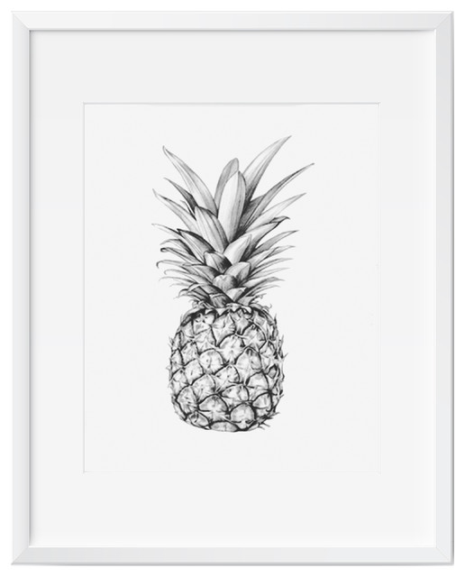 Pineapple wall art art print black and white contemporary modern 11x14