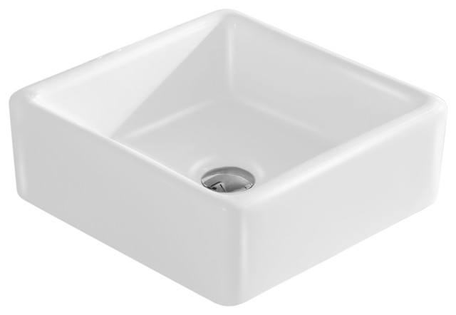 "Fine Fixtures White Vitreous China Square Modern Vessel Sink, 15""."