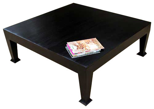 asphalt rustic black wooden square coffee table - coffee tables