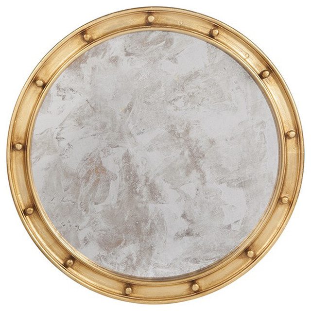 Worlds Away Mirror Gold Leaf With Antique In Center Federal Gl