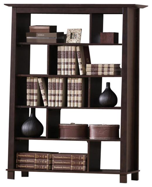 baxton studio havana brown wood modern bookcase tall