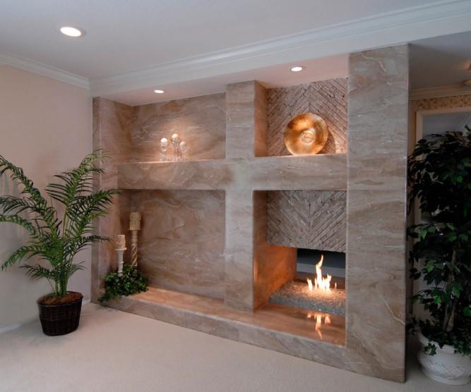 Dana Point Custom Marble Fireplace & Wall