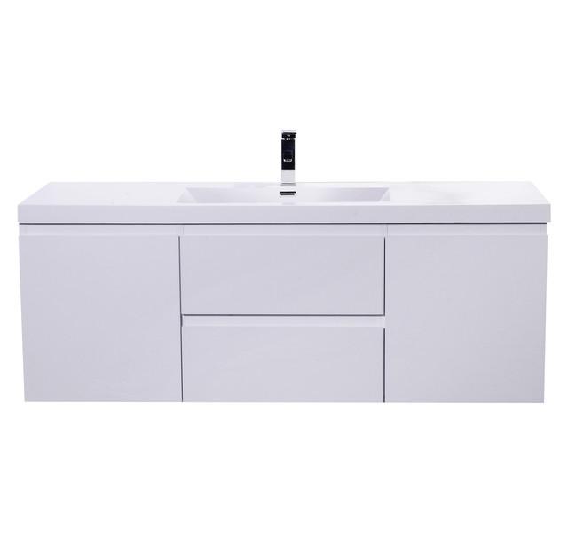 Mob 60 Sinkwall Mounted Modern Vanity High Gloss White Single Sink