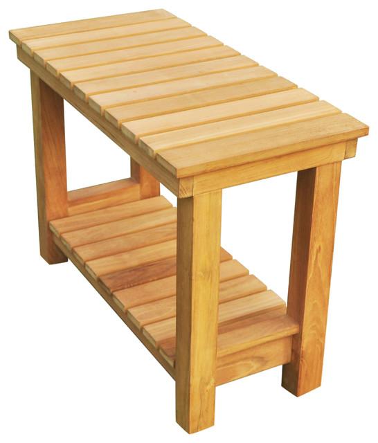 Terrific 24 Outdoor Teak Patio Busselton Shower Bench With Bottom Shelf Large Short Links Chair Design For Home Short Linksinfo
