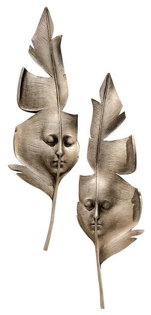 Aurora And Hespera Sculptural Greenmen Wall Masks.