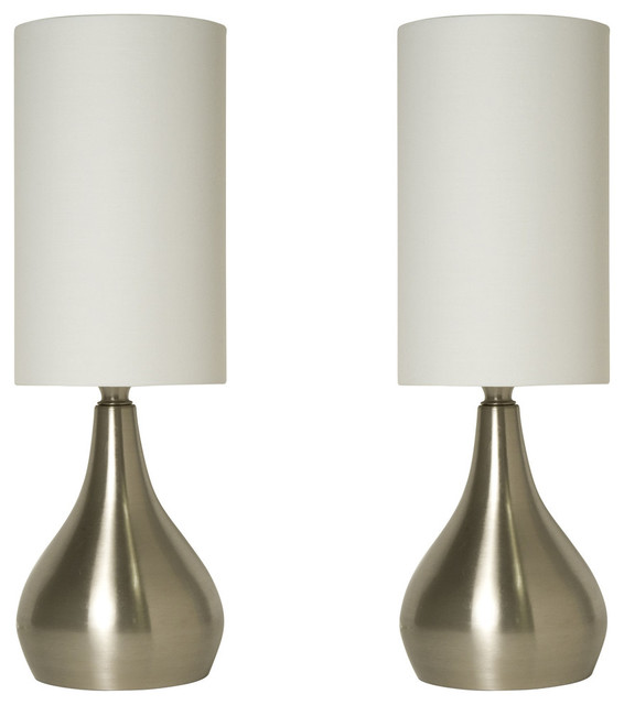 """Modern Table Lamp 18"""" Tall, 3-Way Switch Feature And White Shade, Set Of 2."""
