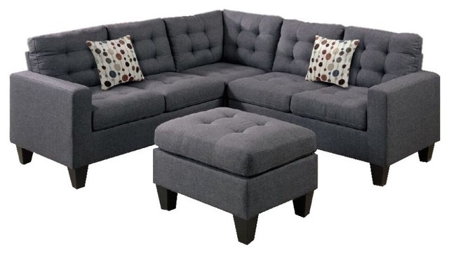 Rhodes Sectional With Ottoman, Gray Contemporary Sectional Sofas