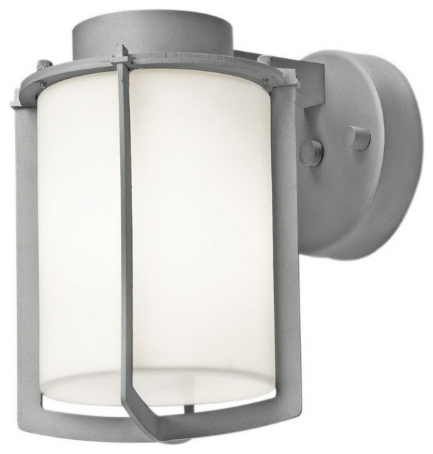 Satin Exterior With Opal Glass Wall Light.