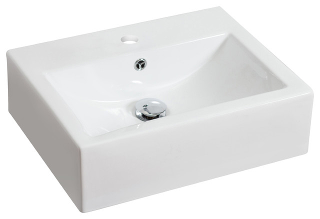 White Counter Rectangle Vessel For Single Hole Faucet.