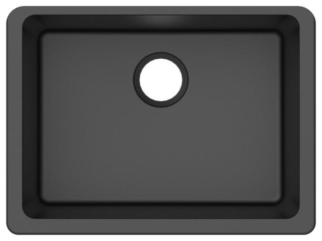 Winpro Undermount Kitchen Sink, Single Bowl, Granite Quartz, Black, 25\